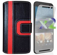 Exian Wallet Case for HTC One M9, Striped Pattern - Black and Red
