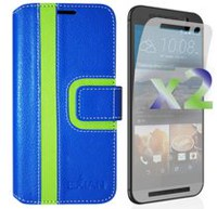 Exian Wallet Case for HTC One M9, Striped Pattern - Blue and Green