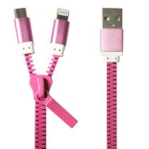 Exian Lightning/Micro USB to USB Zipper Cable Pink