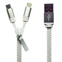 Exian Lightning/Micro USB to USB Zipper Cable White