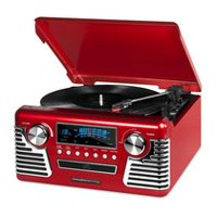 Innovative Technology Modern Black Bluetooth Turntable with Speakers