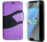 Exian Wallet Case for Galaxy S7 in Purple Black