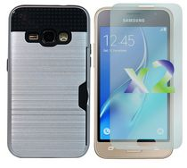 Exian Armored Case with Card Slot for Galaxy J1 in Silver