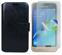 Exian Wallet Case for Galaxy J1 in Black