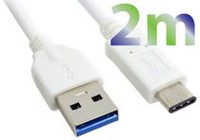 Exian 2m USB Type-C to USB Cable in White