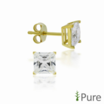 4mm CZ Square Studs - Sterling Silver 14kt Gold Plated