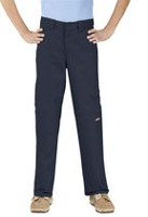 Genuine Dickies Boy's Classic Fit Double Knee Twill Pant Navy 10