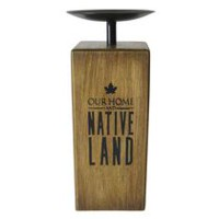 Canadiana Tobin Our Native Land Wood Block Candle Holder