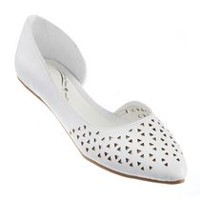 George Women's Honour Pointed Toe Dorsay Flat White 8