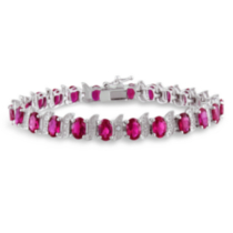Tangelo 18 Carat T.G.W. Created Ruby and Diamond Accent Sterling Silver Bracelet; 7""
