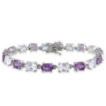 Miadora 19.75 Carat T.G.W. Amethyst and Created White Sapphire Sterling Silver Bracelet, 7.25""