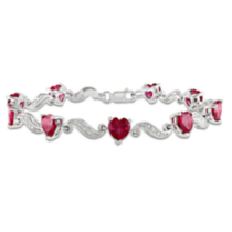 Tangelo 9.10 Carat T.G.W. Created Ruby and Diamond Accent Sterling Silver Heart Bracelet; 7""