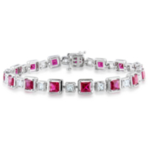 Tangelo 7.50 Carat T.G.W. Created Ruby and Created White Sapphire Sterling Silver Bracelet; 7""
