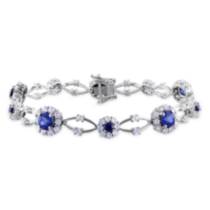 Tangelo 7.33 Carat T.G.W. Created Blue and White Sapphire Sterling Silver Halo Bracelet; 7""