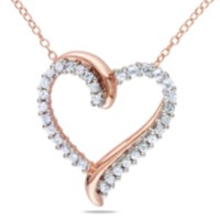 Miabella 0.75 Carat T.G.W. Created White Sapphire Pink Rhodium Plated Sterling Silver Heart Pendant; 18""