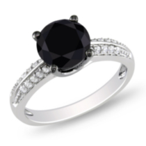 3 Carat T.G.W. Black and White Cubic Zirconia Sterling Silver Engagement Ring 9