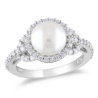 Miabella 8.5-9mm White Cultured Freshwater Pearl and 1 Carat T.G.W. Cubic Zirconia Sterling Silver Cocktail Ring 5