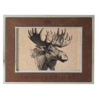 Canadiana Silver Metal and Faux Leather Photo Frame