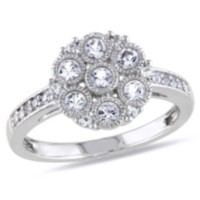 Miabella 0.75 Carat T.G.W. Created White Sapphire Sterling Silver Floral Ring 6