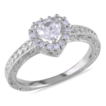 Miadora 0.60 Carat T.G.W. Created White Sapphire and 0.14 Carat T.W. Diamond Sterling Silver Heart Ring 8