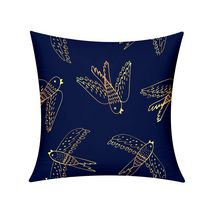 Holiday Gold Ornate Birds Cushion