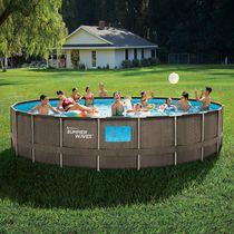Summer Waves 22 ft Dark Double Rattan Elite Frame Pool with 4 See Through Windows