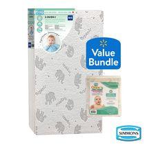 SIMMONS PERFECT SLUMBER CRIB MATTRESS & Simmons OOPS Organic Mattress Protector Bundle
