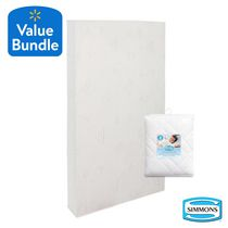 Simmons Silver Dreams 2-in-1 Crib Mattress & Simmons Quilted Polycotton Mattress Protector