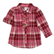 George Baby Girls' Plaid Flannel Ruffle Tunic Pink 12-18 months
