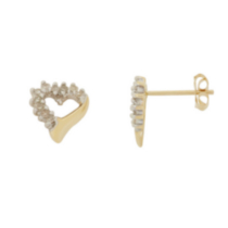 10K Yellow Gold Diamond Heart Earrings