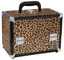 Caboodles 11.25 Inches Leopard Print Cosmetic Train Case with Mirror - 2 Tray