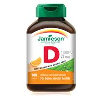 Jamieson Chewable Vitamin D 1,000 IU Natural Tangy Orange Tablets, 25 mcg