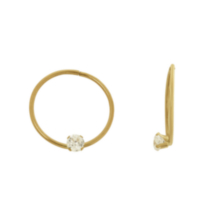 10K Yellow Gold 14MM Sleeper Hoop with a 3mm Round CZ