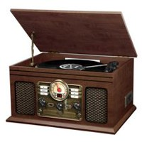 Innovative Technology 6-in-1 Turntable Bluetooth Wooden Music Center - ITVS-200B ESP