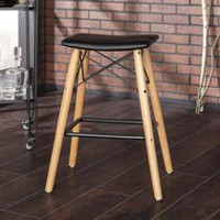 Walker Edison Black Retro Modern Faux Leather Counter Kitchen Stool