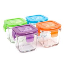 Wean Green - Tempered Glass Baby Food, lunch Storage Containers, Wean Cube 4 Ounces, Garden Pack - 4 Pack