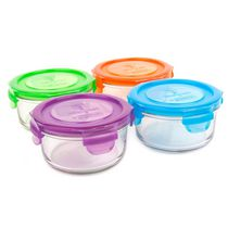 Wean Green - Lunch Bowls Garden Set - Baby Kids Adults Tempered Glass BPA Free Food Storage Containers (4 Pack)