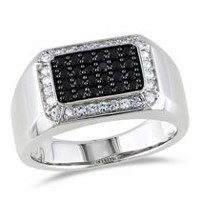 7/8 Carat T.G.W. Black Spinel and White Sapphire Sterling Silver Men's Ring 9.5