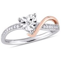 Miabella 1/10 Carat T.W. Diamond 10 K Two-Tone Gold Heart Swirl Promise Ring 7