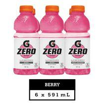 Gatorade Zero Berry Electrolyte Beverage, 591 mL Bottles, 6 Pack