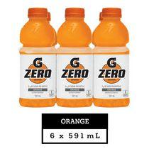 Gatorade Zero Orange Electrolyte Beverage, 591 mL Bottles, 6 Pack