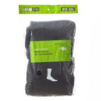 Athletic Works Men's Crew Socks, 20 Pairs Black