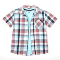 George Boys' Woven Shirt & Tee Red XS