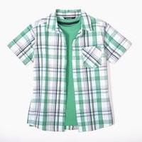 George Boys' Woven Shirt & Tee Green L/G