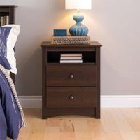 Prepac Fremont Espresso Tall 2-Drawer Nightstand with Open Shelf