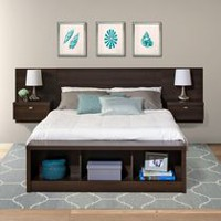 Prepac Series 9 Designer Floating Headboard with Nightstands Espresso Queen