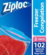 Ziploc Freezer Bags Medium 3 Pack, 3 x 34 Bags