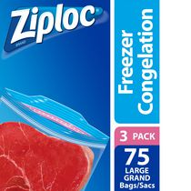 Ziploc Freezer Bags Large 3 Pack, 3 x 25 Bags