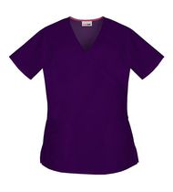 Scrubstar Eggplant Mock Wrap Top S