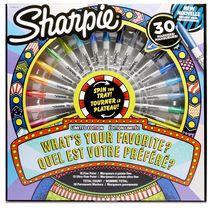 Marqueurs permanents Sharpie, pointe fine, couleurs variées, 30 unités